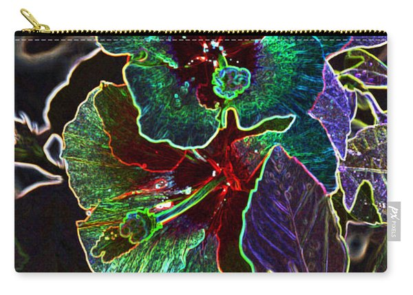 Two Hibiscus Glowing Edges Abstract Carry-all Pouch