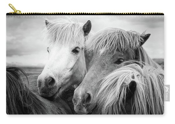Two Icelandic Horses Black And White Carry-all Pouch