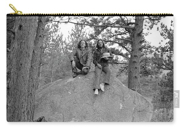Two Men On A Boulder In The American West, 1972 Carry-all Pouch