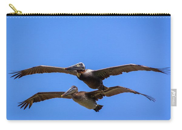 Two Pelicans Over The Beach Carry-all Pouch