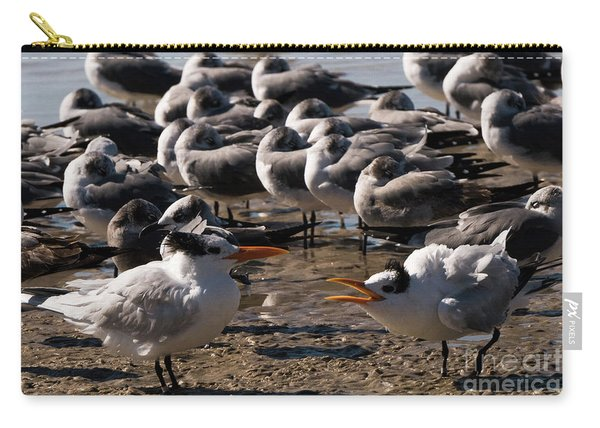Two Royal Terns Arguing At The Beach Carry-all Pouch