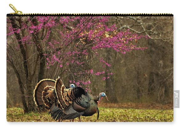 Two Tom Turkey And Redbud Tree Carry-all Pouch