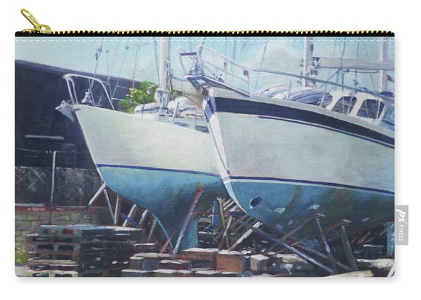 Two Yachts Receiving Maintenance In A Yard Carry-all Pouch