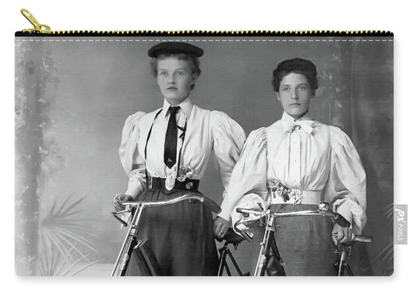 Two Young Ladies With Their Bicycles Circa 1895 Carry-all Pouch