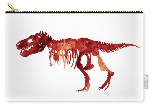 Tyrannosaurus Rex Skeleton Poster, T Rex Watercolor Painting, Red Orange Animal World Art Print Carry-all Pouch