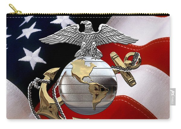 U S M C Eagle Globe And Anchor - C O And Warrant Officer E G A Over U. S. Flag Carry-all Pouch