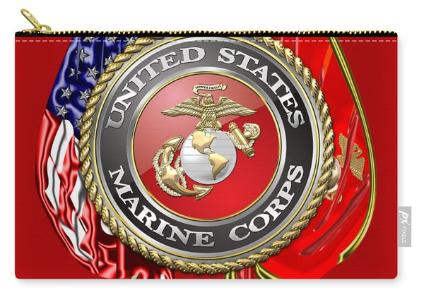 U. S. Marine Corps U S M C Emblem On Red Carry-all Pouch