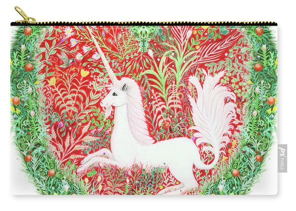 Unicorn Heart With Millefleurs Carry-all Pouch