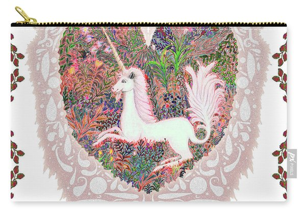 Unicorn In A Pink Heart Carry-all Pouch