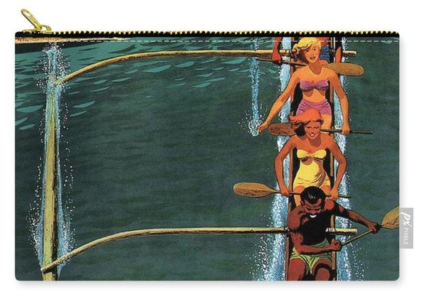 United Air Lines To Hawaii - Riding With Outrigger - Retro Travel Poster - Vintage Poster Carry-all Pouch