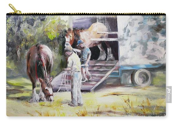 Carry-all Pouch featuring the painting Unloading The Clydesdales by Ryn Shell