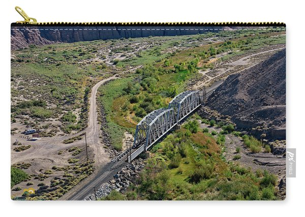 Carry-all Pouch featuring the photograph Up Tracks Cross The Mojave River by Jim Thompson