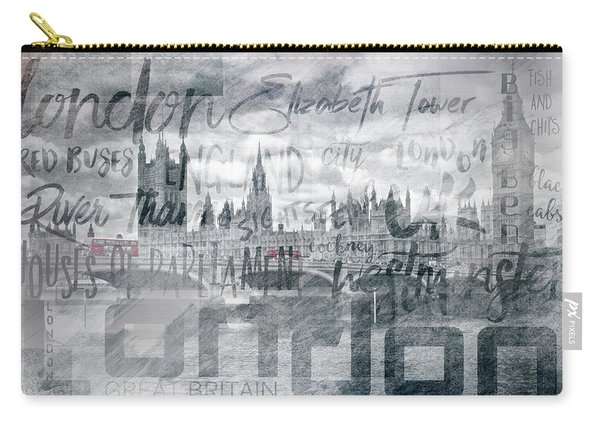 Urban-art London Houses Of Parliament And Red Buses I Carry-all Pouch