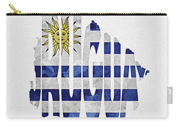 Uruguay Typographic Map Flag Carry-all Pouch