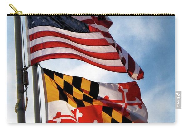 Us And Maryland Flags Carry-all Pouch