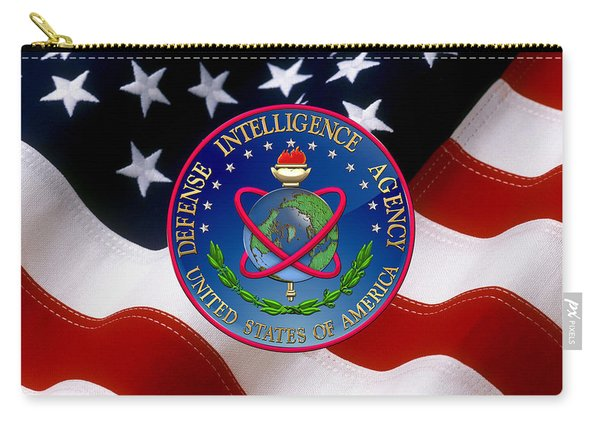 U. S. Defense Intelligence Agency - D I A Emblem Over Flag Carry-all Pouch