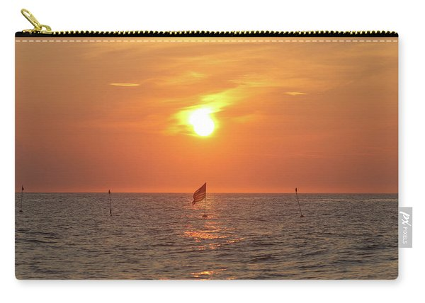 Us Flag Floating At Sunrise Carry-all Pouch