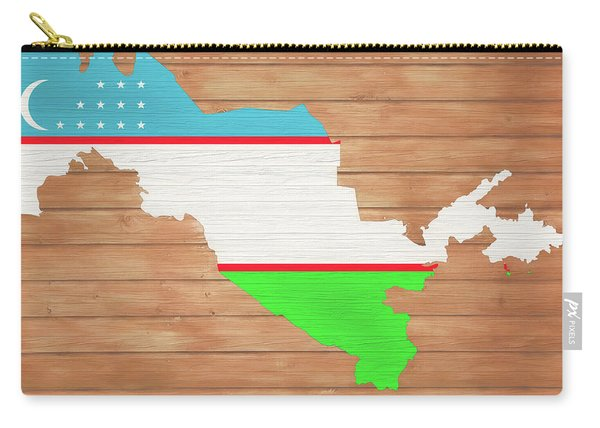 Uzbekistan Rustic Map On Wood Carry-all Pouch