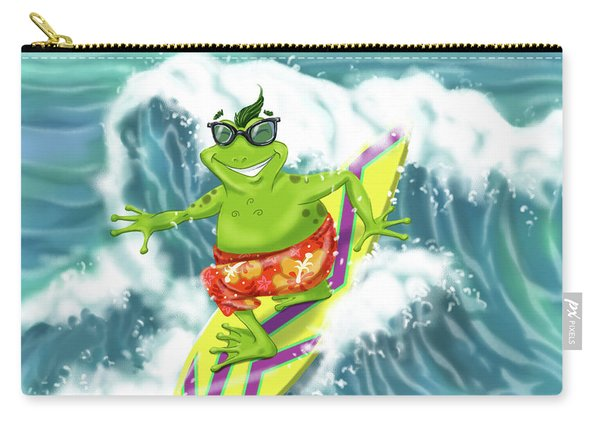 Vacation Surfing Frog Carry-all Pouch