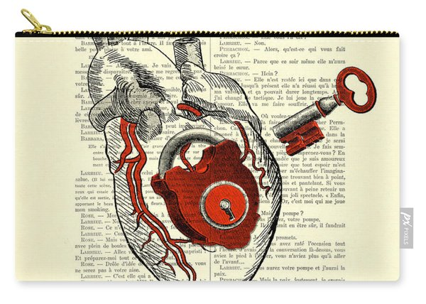 Valentine's Day Gift, Heart With Key Carry-all Pouch