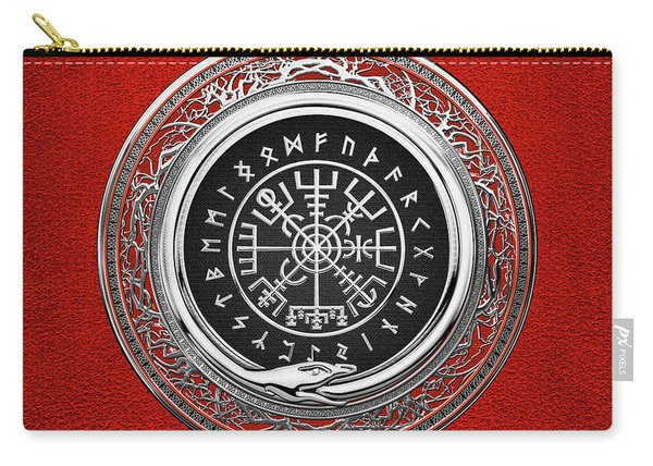 Vegvisir - A Silver Magic Viking Runic Compass On Red Leather  Carry-all Pouch