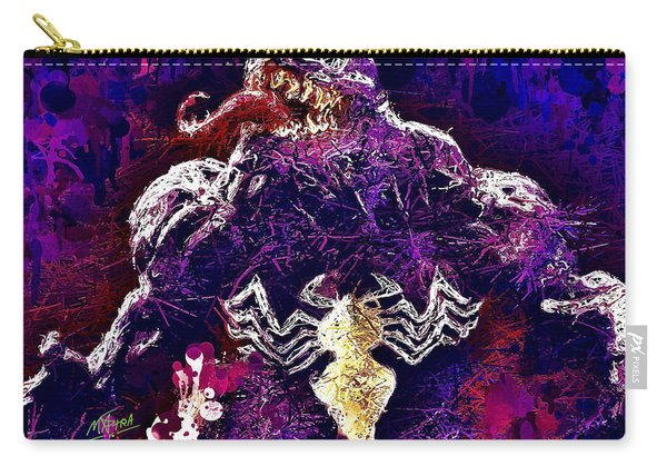 Carry-all Pouch featuring the mixed media Venom by Al Matra