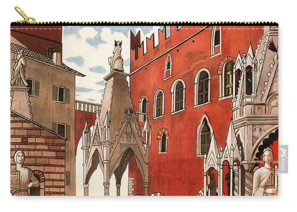Verona, Italy - Building And Monuments - Retro Travel Poster - Vintage Poster Carry-all Pouch