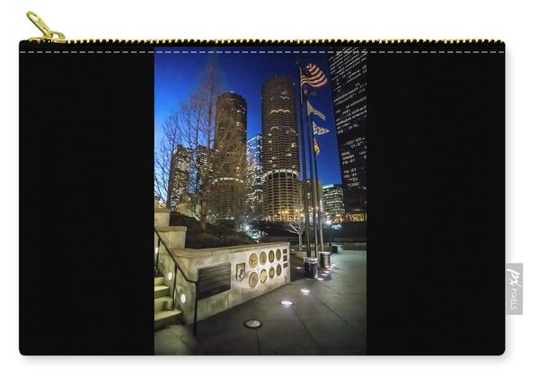 Veteran's Memorial On The Chicago Riverwalk At Dusk Carry-all Pouch