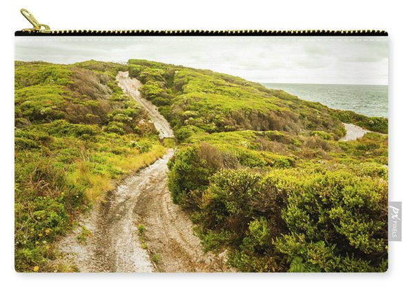 Vibrant Green Hills And Ocean Tracks Carry-all Pouch