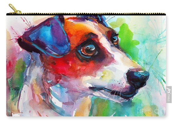 Vibrant Jack Russell Terrier Dog Carry-all Pouch