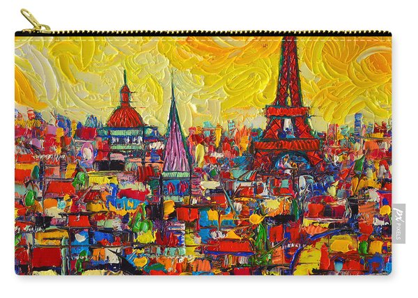 Vibrant Paris Abstract Cityscape Impasto Modern Impressionist Palette Knife Oil Ana Maria Edulescu Carry-all Pouch