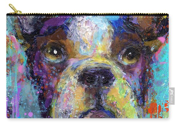 Vibrant Whimsical Boston Terrier Puppy Dog Painting Carry-all Pouch