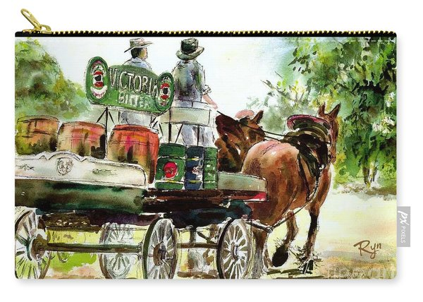 Carry-all Pouch featuring the painting Victoria Bitter, Working Clydesdales. by Ryn Shell