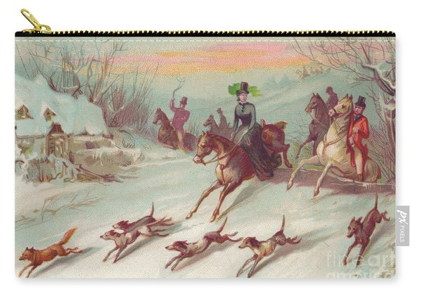 Victorian Greeting Card Of A Hunting Party On Horses Chasing A Fox Carry-all Pouch