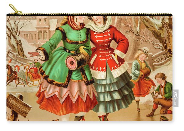 Victorian Ice Skaters Carry-all Pouch