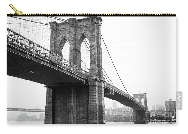 View Brooklyn Bridge With Foggy City In The Background Carry-all Pouch