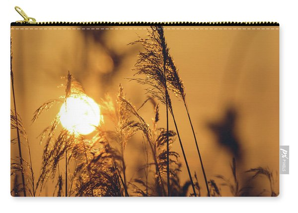 View Of Sun Setting Behind Long Grass C Carry-all Pouch