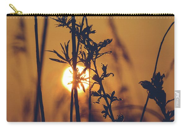 View Of Sun Setting Behind Long Grass D Carry-all Pouch