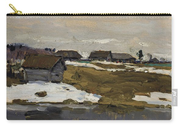 Village By The Water In Winter Carry-all Pouch