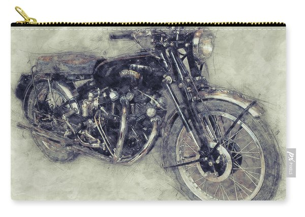 Vincent Black Shadow 1 - Standard Motorcycle - 1948 - Motorcycle Poster - Automotive Art Carry-all Pouch