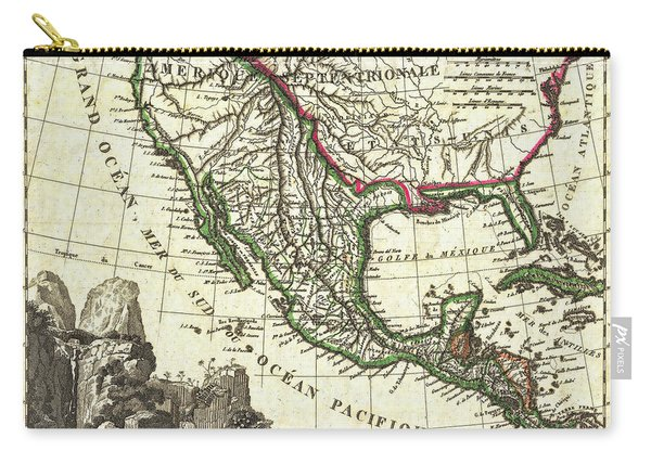 Vintage 1810 Map Of Mexico Texas And California Carry-all Pouch