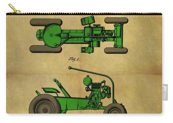 Vintage 1953 Green Tractor Patent Carry-all Pouch