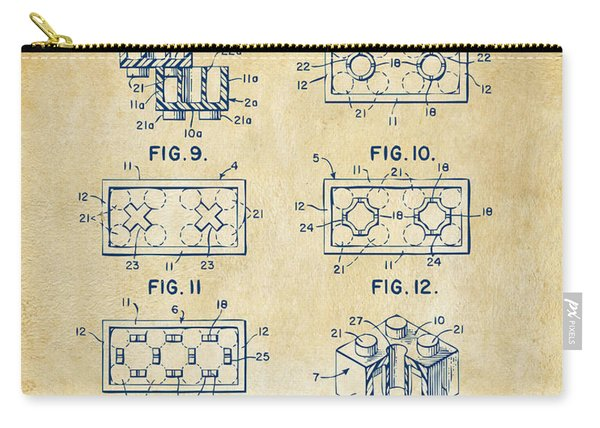 Vintage 1961 Lego Brick Patent Art Carry-all Pouch