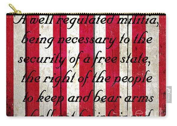 Vintage American Flag And 2nd Amendment On Old Wood Planks Carry-all Pouch