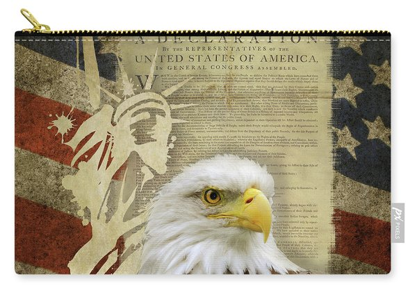 Vintage Americana Patriotic Flag Statue Of Liberty And Bald Eagle Carry-all Pouch