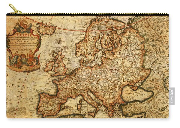 Vintage Antique Map Of Europe French Origin Circa 1700 On Worn Distressed Parchment Canvas Carry-all Pouch