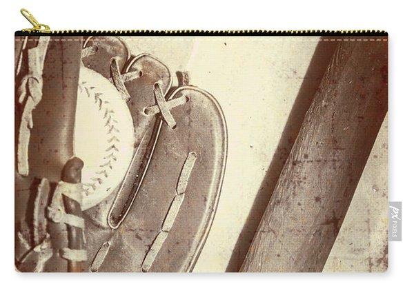 Vintage Baseball Bat Mitt And Ball Carry-all Pouch