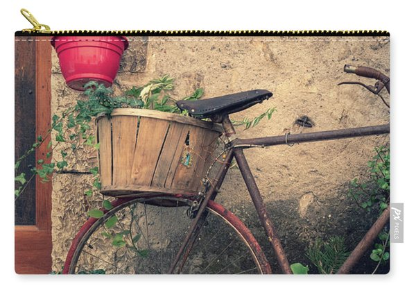 Vintage Bicycle Used As A Flower Pot, Provence Carry-all Pouch