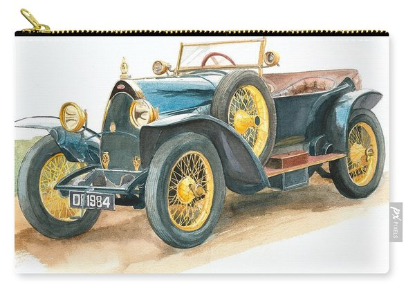 Vintage Blue Bugatti Classic Car Carry-all Pouch