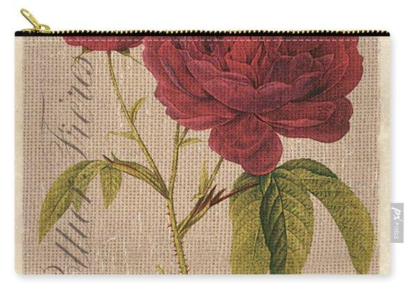 Vintage Burlap Floral 3 Carry-all Pouch